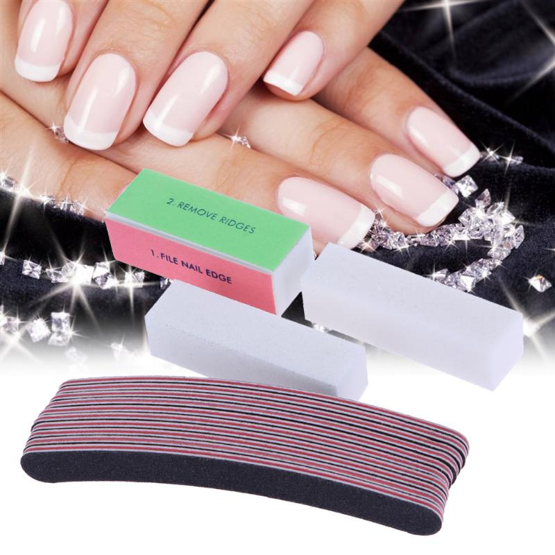 10pcs Nail Art Kit Acrylic UV Gel Curved Nail Files Buffer Buffing ...