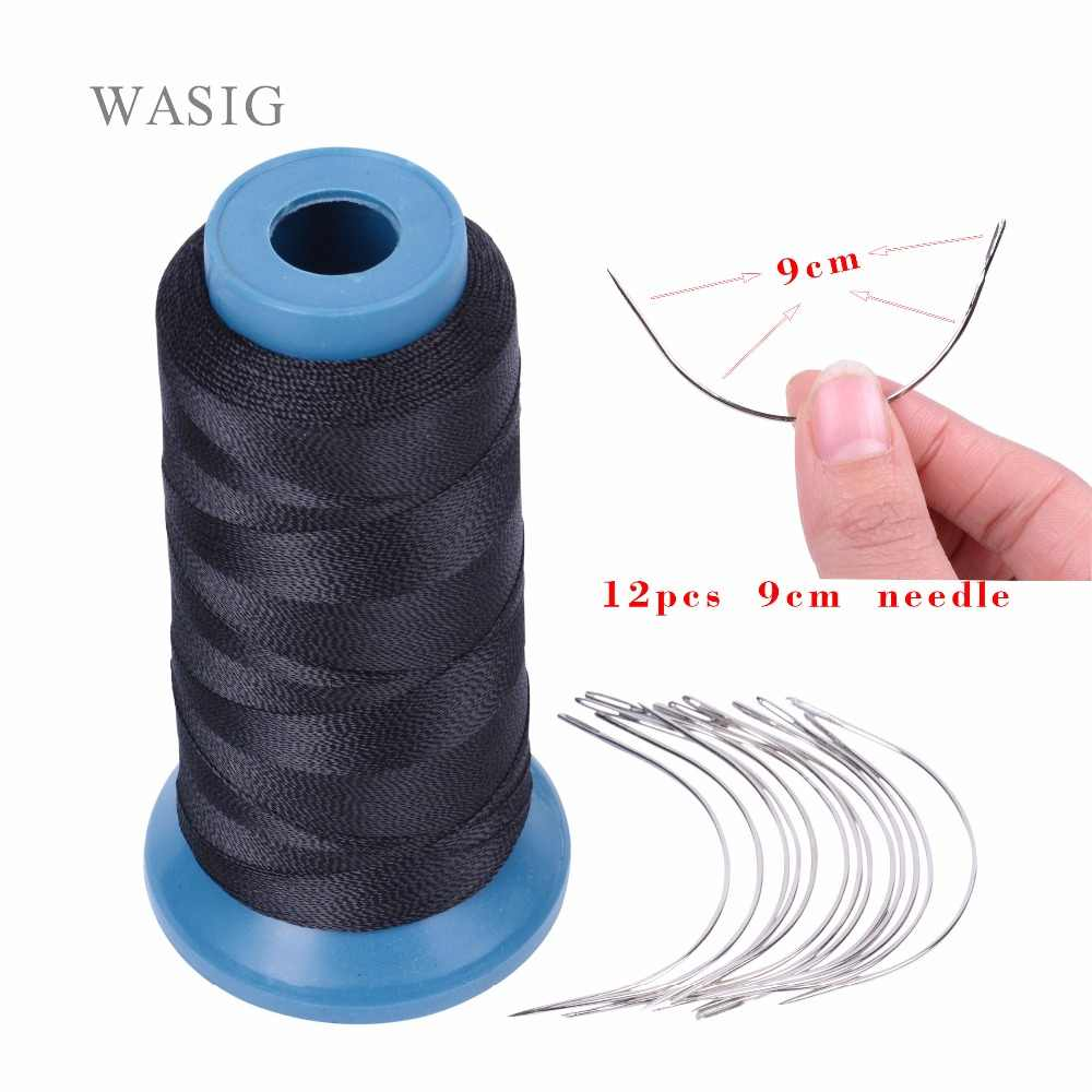 1 Roll black hair weaving thread High Intensity Polyamide Thread 12pcs 9cm weaving needles /C type needles/curved needle