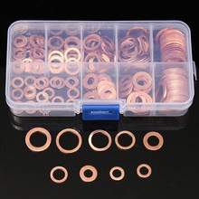 200pcs M5 M6 M8 M10 M12 M14 M16 M18 Copper Washers Gasket Set Flat Ring Seal Washer Assortment Kit  Hardware Accessories omy 150pcs copper washers set solid copper washer gasket sealing ring assortment kit set with case 15 sizes for hardware tools