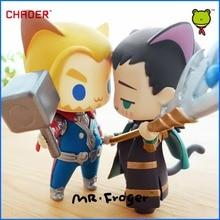 Mr.Froger Marvel's The avengers alliance thor Loki cat q version chibi cute Action figure Super hero model PVC dolls toys Anima