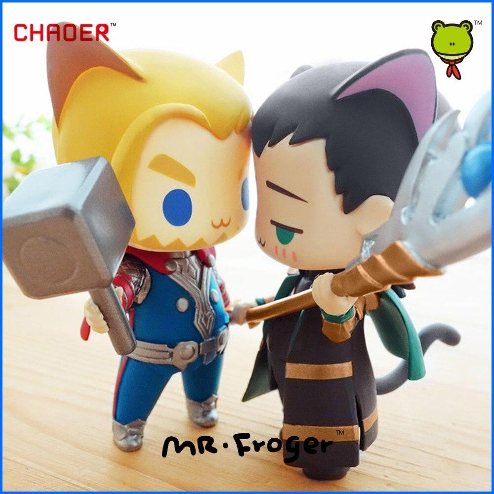 Mr.Froger <font><b>The</b></font> <font><b>Avengers</b></font> Alliance Thor Loki cat q version chibi cute Action <font><b>figure</b></font> Super hero model PVC dolls <font><b>toys</b></font> <font><b>Animation</b></font> Cute