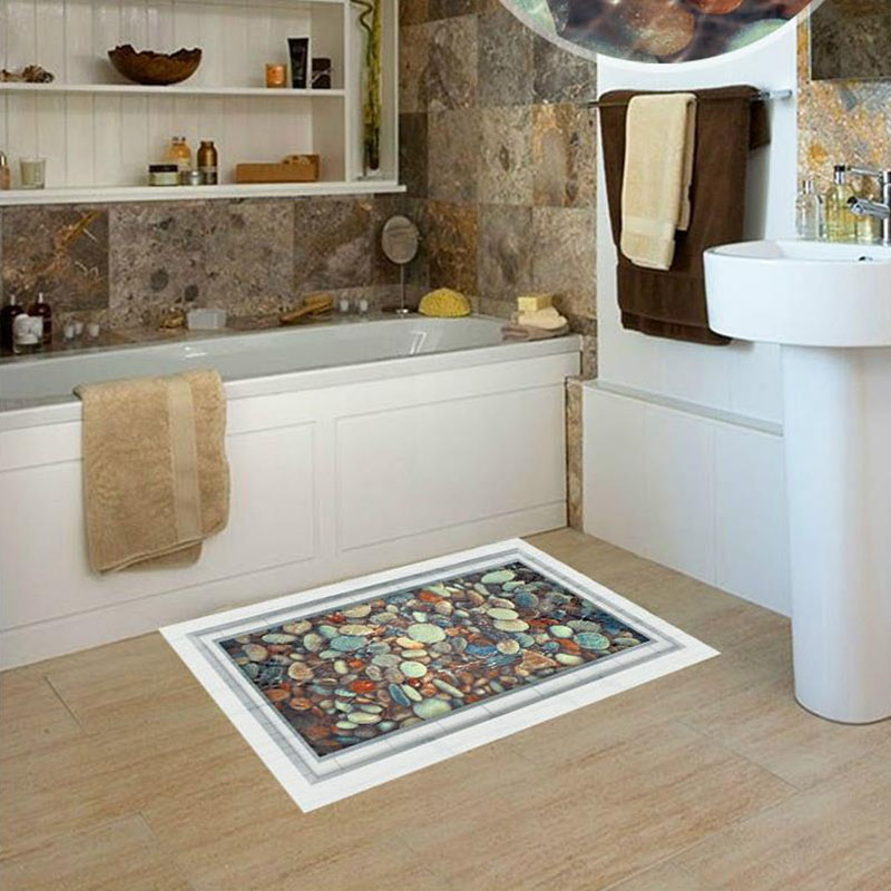 2018 New DIY 3D PVC Bathroom Floor Sticker For Glass Pebbles Mural