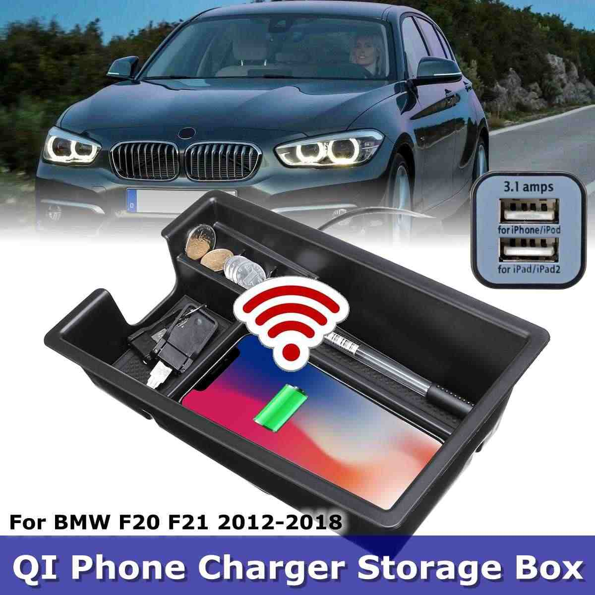phone wireless charging Central Armrest storage box For BMW  X3 X4 X5 X6 G30 G38 F10 F15 F16 F20 F21 F25 F30 F32 F34 F48 LHD