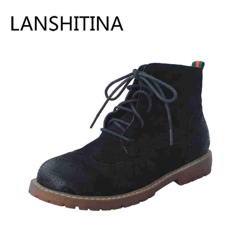 Full Grain Leather women boots Lace-Up Motorcycle retro style ankle boots low heels women shoes Solid fashion  British style enmayer new boots arrivals fashion motorcycle boots high heels shoes for women full grain leather boots