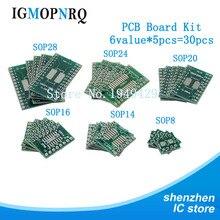 30 шт. набором плат PCB SOP24 SOP8 SOP14 SOP16 SOP20 SOP28 SMD обратиться к DIP адаптер конвертер пластина СОП 8 до 14 лет, 16 20 24 28 igmopnrq