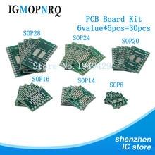 30 Stuks Pcb Board Kit SOP24 SOP8 SOP14 SOP16 SOP20 SOP28 Smd Beurt Dip Adapter Converter Plaat Sop 8 14 16 20 24 28 Igmopnrq