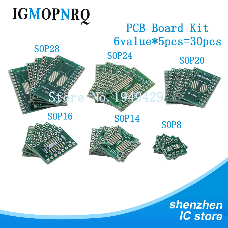 30PCS PCB Board Kit SOP24 SOP8 SOP14 SOP16 SOP20 SOP28 SMD Turn To DIP Adapter Converter Plate SOP 8 14 16 20 24 28 Igmopnrq