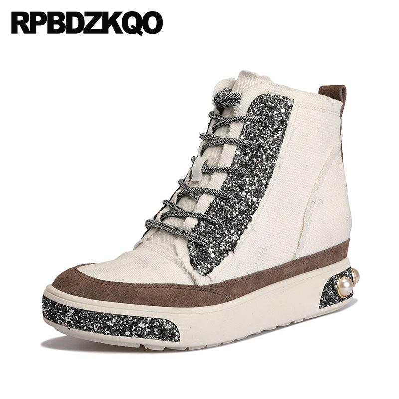 Creepers Thick Sole Wedge Luxury Lace Up Brand Pearl Sequin High Top Glitter White Canvas Shoes Elevator Women Sneakers Designer