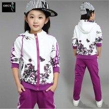 2016 Nouvelle Vente Enfants Vêtements Personnalité Costume Filles Printemps Coton Paon Manteau + Pantalon 2 PCS Enfants De Mode Sport Ensemble 120-160