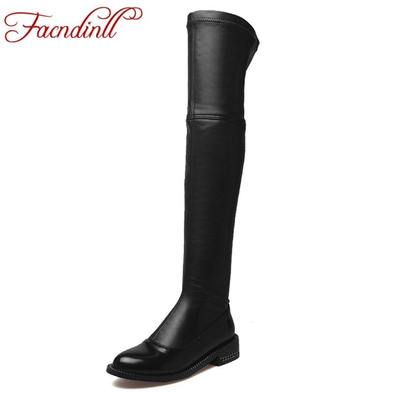 Фотография FACNDINLL new 2017 brand shoes stretch genuine leather shoes woman over the knee boots ladies fashion autumn winter black boots