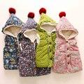 Baby print cotton 2015 winter vest female child children's clothing child plus velvet thickening outerwear Hooded vest wt-5619