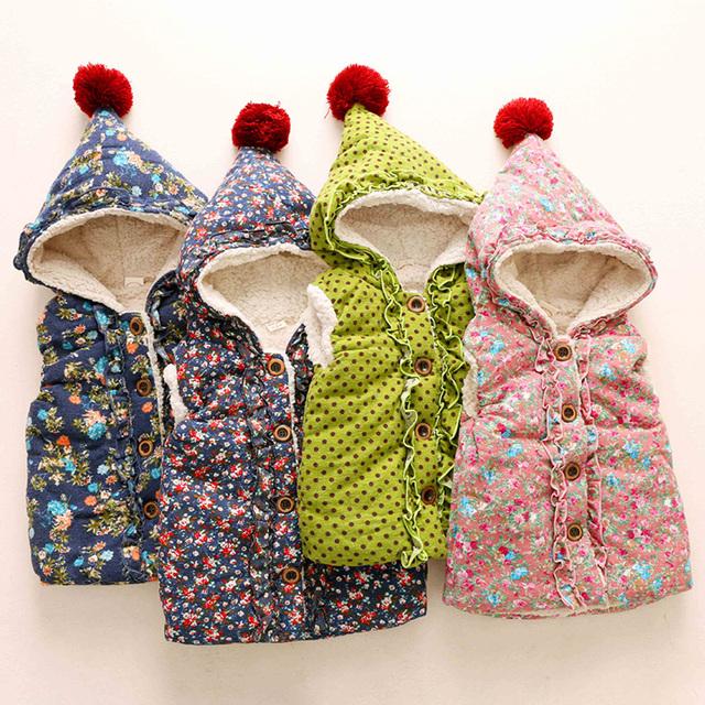 Impressão do bebê do algodão 2015 inverno colete criança do sexo feminino vestuário infantil criança além de veludo espessamento outerwear colete com capuz wt-5619