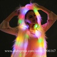 Со светящимися вставками меха танцевальная команда жилет со светодиодной подсветкой этап одежда для представлений Хэллоуин Рождество соб