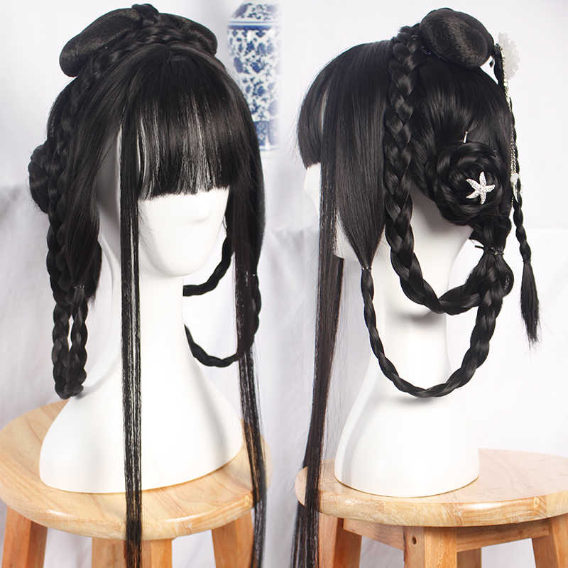 9d476a266 80cm black princess hair products halloween cosplay accessories vintage  chinese style hair ancient dynasty women cosplay