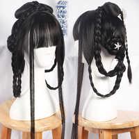 80cm zwarte prinses haar producten halloween cosplay accessoires vintage chinese stijl haar oude dynastie vrouwen cosplay