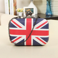 2017 Guangzhou Wholesale Shoulder Bags Wallet Printing The Union Flag Chain Evening Bags Party Clutch Purse