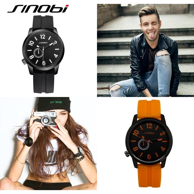 SINOBI Módní pánské hodinky Silikonová kapela Pánská náramkové hodinky 2019 Nejlepší značka Luxusní hodinky Quartz Hodiny Hodiny Relogio Masculino # 9400