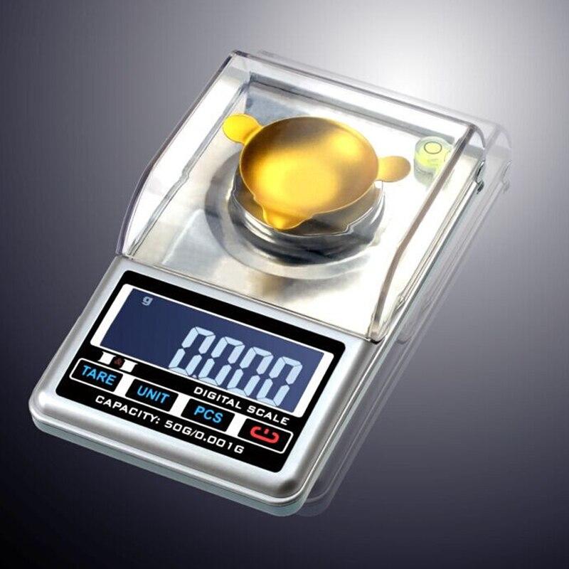 Mini haute précision 0.001g ~ 50g haute définition bijoux échelle qualité poche électronique numérique balance + boîte de détail
