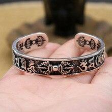 все цены на 925 Sterling Silver Buddha Mantra Instruments Bracelet Bangle for Men  Women Thai Silver Vintage Vajra Bangle Fine Jewelry Gifts онлайн