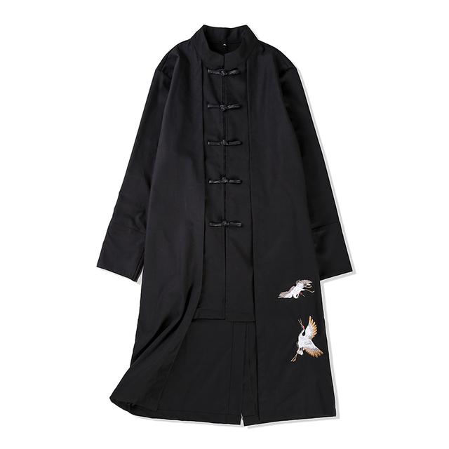 Plus size casaco de trincheira dos homens estilo china kungfu algodão linho slim fit trincheira casaco masculino moda casual longo casaco M-5XL