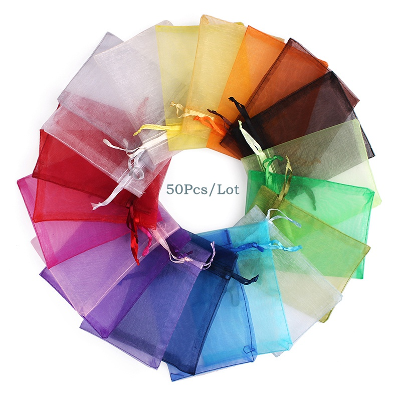 50Pcs/lot 7x9 9x12 10x15 13x18CM Organza Bags Jewelry Bag Wedding Party Decoration Drawable Bags Gift Pouches Jewelry Packaging