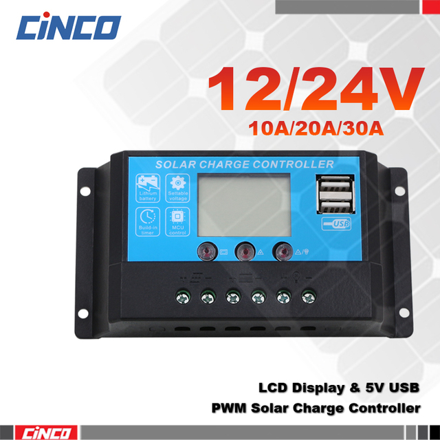 10A20A30A 12 V/24 V solar laadregelaar, lcd-scherm, 5 VUSB, zonnepaneel lader om lithiumbatterij AGM GEL batterij voeding