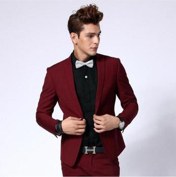 2019 Custom Slim Fit Fashion Men Wine red Business Suits Wedding Prom man Suit With Pant Best Man Groom Tuxedos Costume Homme