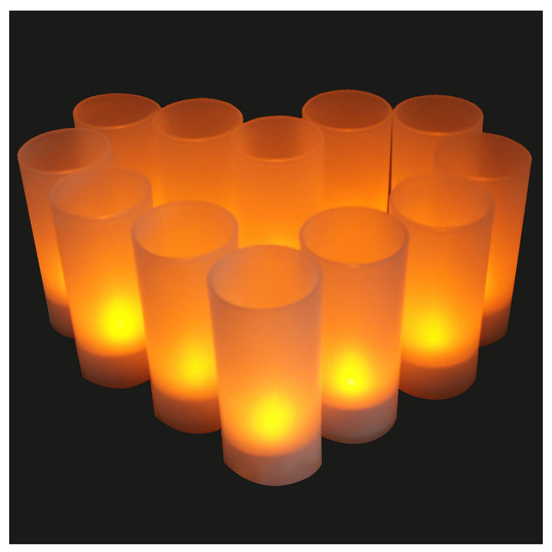 12X Flameless Rechargeable LED Tea Light Flickering Amber Tealights Candles US ...