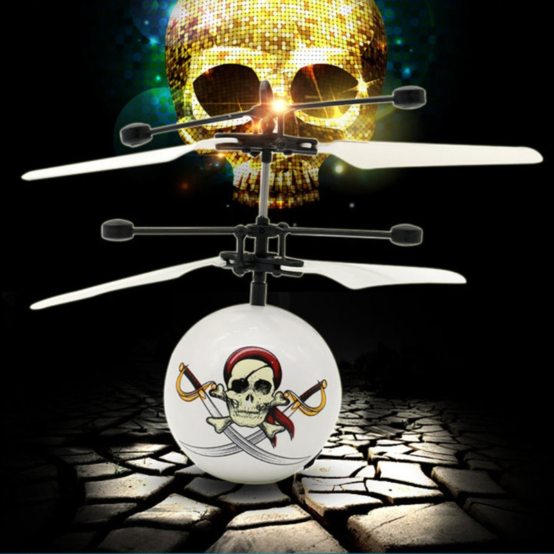 1PC Electric RC Led Ball Lamp Helicopter Flying Flash Light Skeleton Pirate Ball Kids Te ...