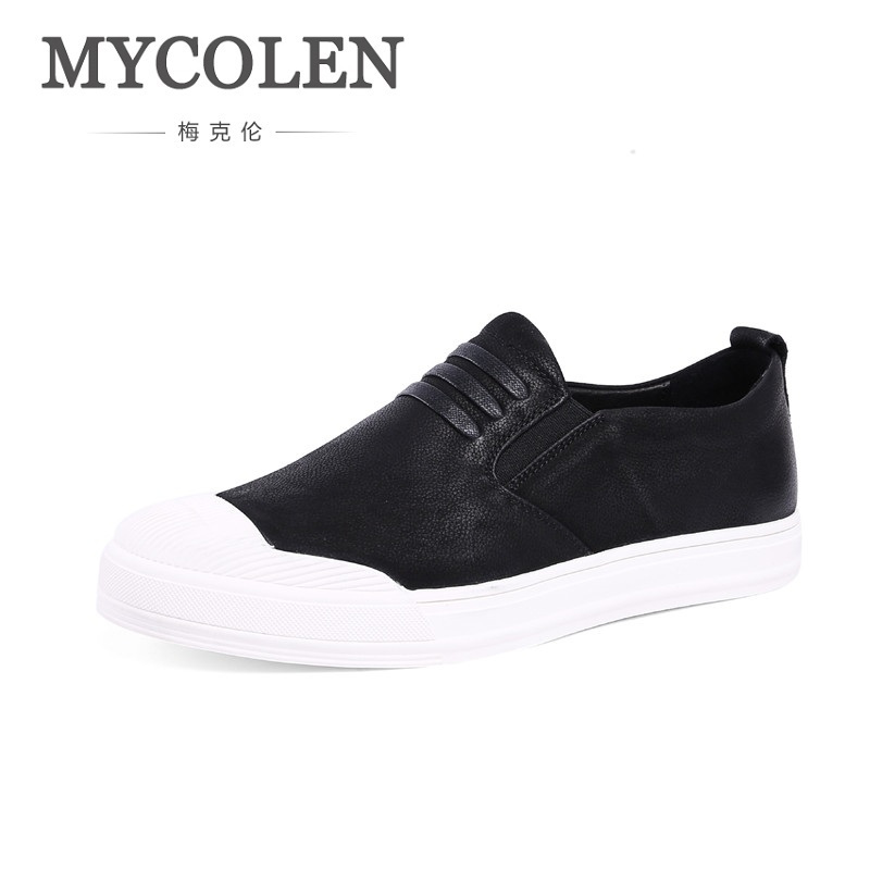 MYCOLEN High Quality Genuine Leather Men Loafers Slip-On Casual Shoes Man Luxury Brand Driving Shoe Solid Male Flats Footwear mycolen high quality men white leather shoes fashion high top men s casual shoes breathable man lace up brand shoes