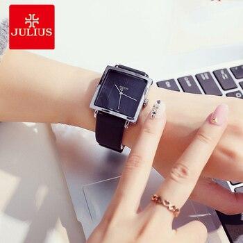 e104a60d305e Julio de las mujeres de la marca de Relojes de oro cuadrado gran Dial  señoras reloj de cuarzo de cuero de la señora de negocios pulsera Relojes  reloj Montre ...