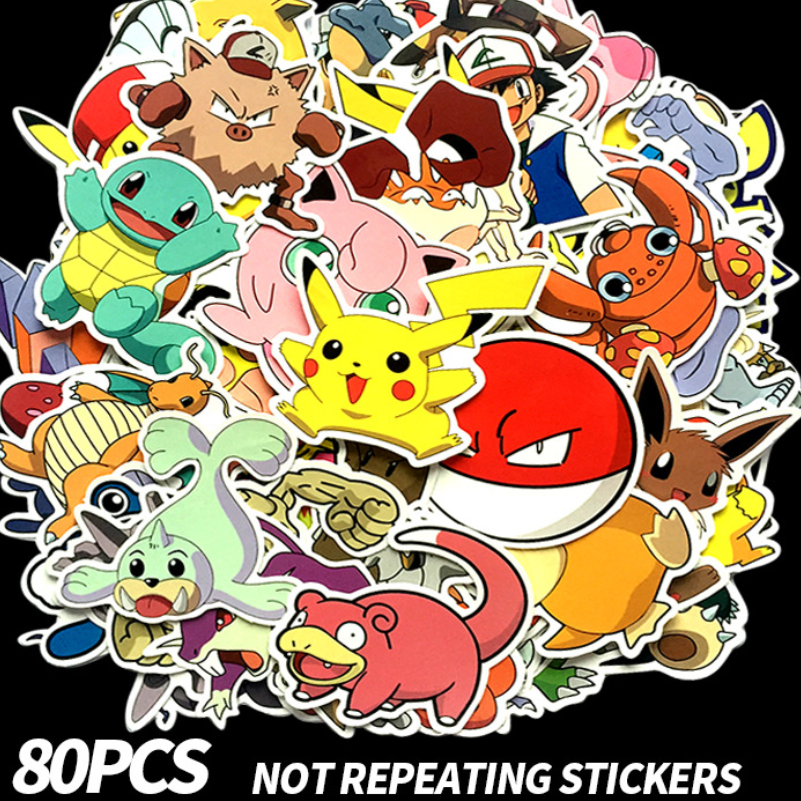 De Confianza Dibujos Animados Anime Pokemon Periphery Personaje Pegatinas Pvc Maleta Impermeable Trolley Funda Ordenador Teléfono Móvil Bicicleta Pegatina