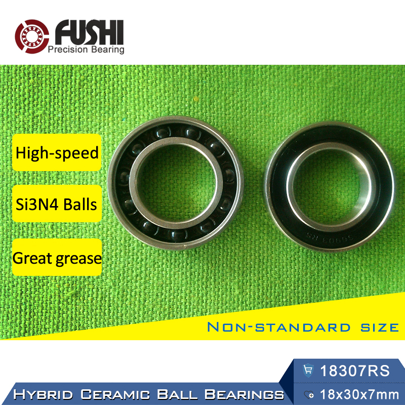 18307 Hybrid Ceramic Bearing 18x30x7mm ABEC-1 (1 PC) Bicycle Bottom Brackets & Spares 18307RS Si3N4 Ball Bearings 18307-2RS коньки onlitop abec 7 30 33 1231445