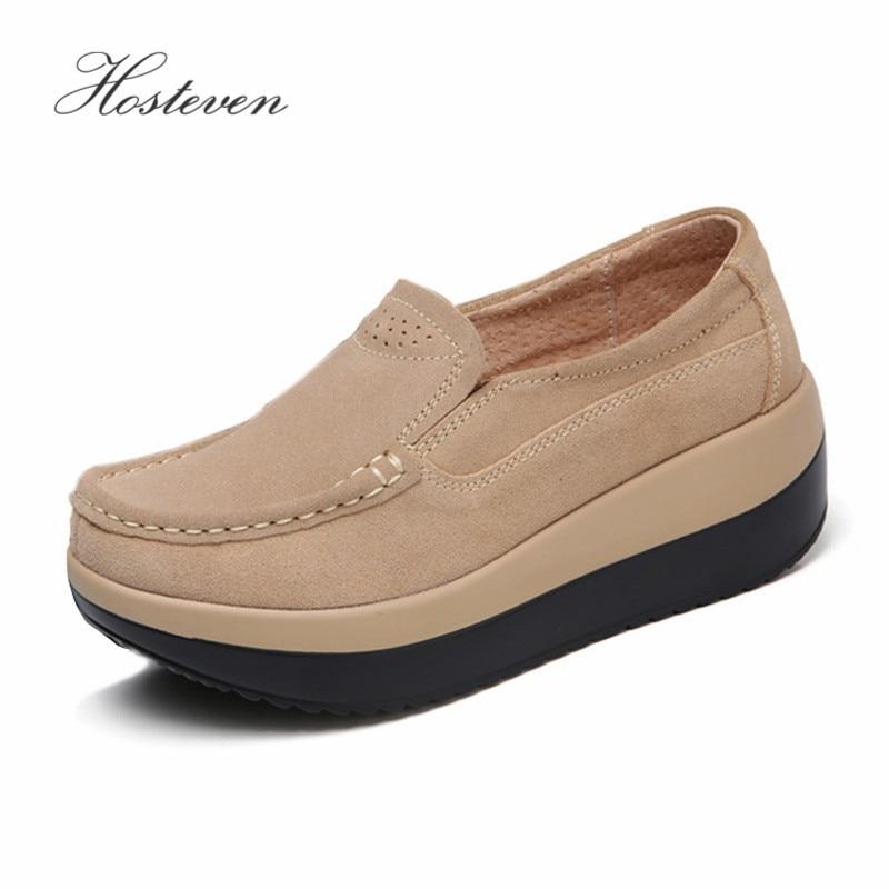 Hosteven Women Shoes Sneaker Ballet Cow Suede Leather Flat Platform Woman Shoes Slip On Female Women's Loafers Moccasins Shoe