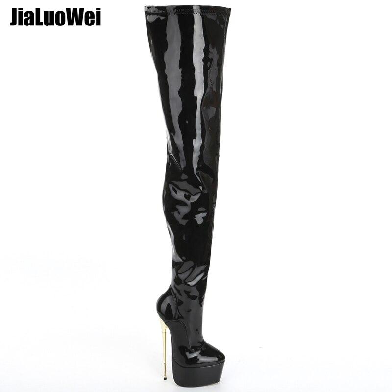 Jialuowei/бренд 22 см Экстремально высокий каблук золото металлический каблук платформа пикантные Фетиш шпильках молния вечерние ботфорты