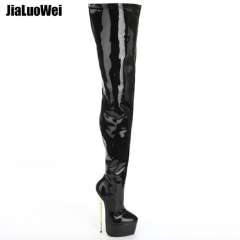 jialuowei Thigh High Platform Boots Women 22cm Extreme High Heel Gold Metal Heel Sexy Fetish Stiletto Over The Knee Party Boots