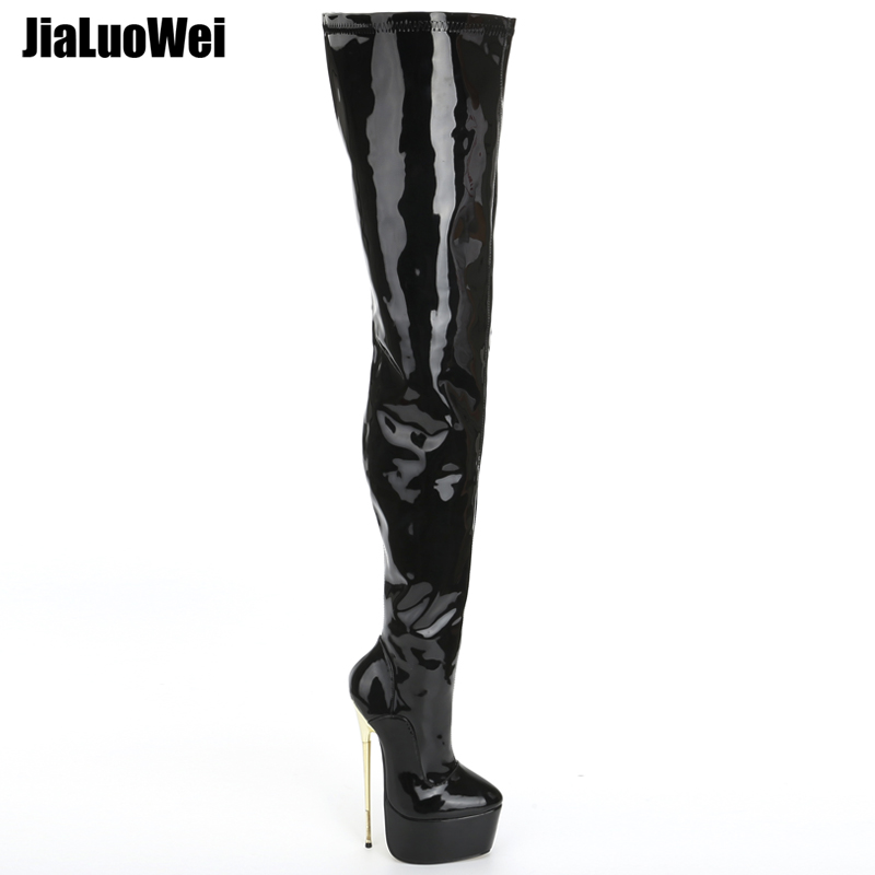 63fcf3b663e jialuowei Thigh High Platform Boots Women 22cm Extreme High Heel Gold Metal  Heel Sexy Fetish Stiletto Over The Knee Party Boots