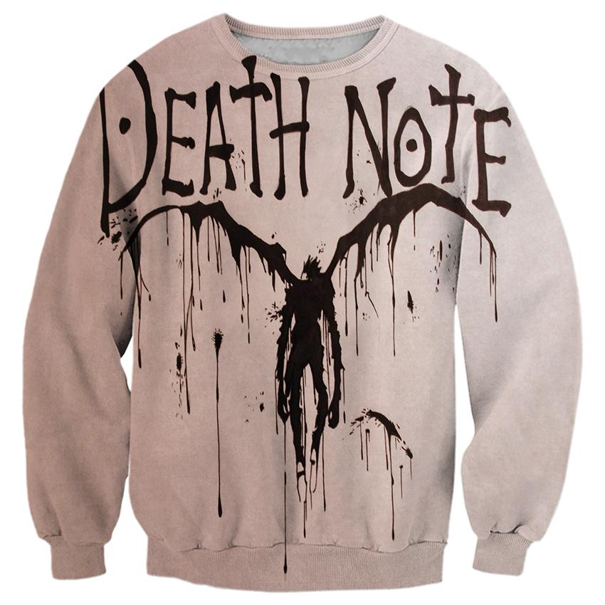 2018 NEW FASHION MEN AND WOMEN Death Note Gray cool 3D Print Sweat shirts Pullovers Tracksuit Streetwear Loose Thin Hoody Tops