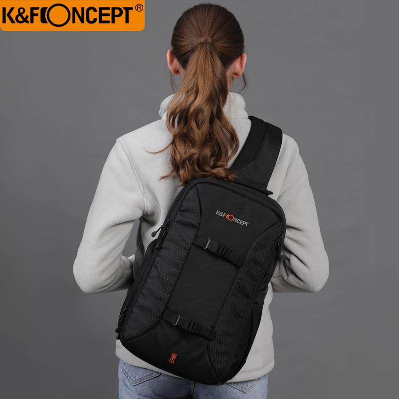 K& F concepto multifuncional DSLR Cámara mochila estilo Casual Sling mensajero bolsa de viaje soporte para trípode iPad + funda de lluvia