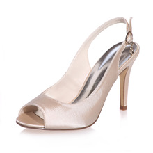 Elegant concise design slingback open toe woman satin dress shoes bridal wedding party banquet high heels white ivory silver