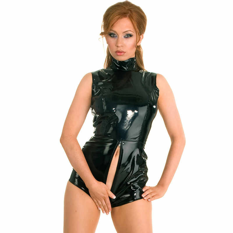 Latex PVC เปิด crotch bodysuit catwoman Faux Catsuit หนัง wetlook clubwear Fetish ชุดชั้นใน body เซ็กซี่ร้อนเร้าอารมณ์คลับชุด