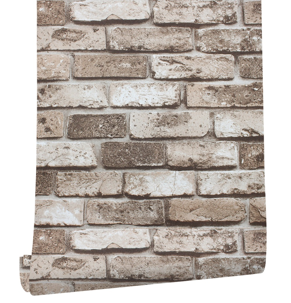 HaokHome 3D Vintage Faux Brick Stone PVC Wallpaper Brown Multi Vinyl Living Bedroom Bathroom Home Wall Decoration,0.53m*10m/roll wall art vintage stone brick tapestry for bedroom