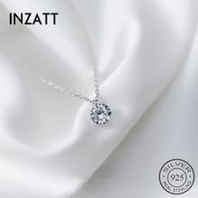 INZATT Настоящее серебро 925 пробы, ожерелье с кулоном, круглый кристалл, хорошее ювелирное изделие для женщин, Романтические Аксессуары для помолвки, подарок