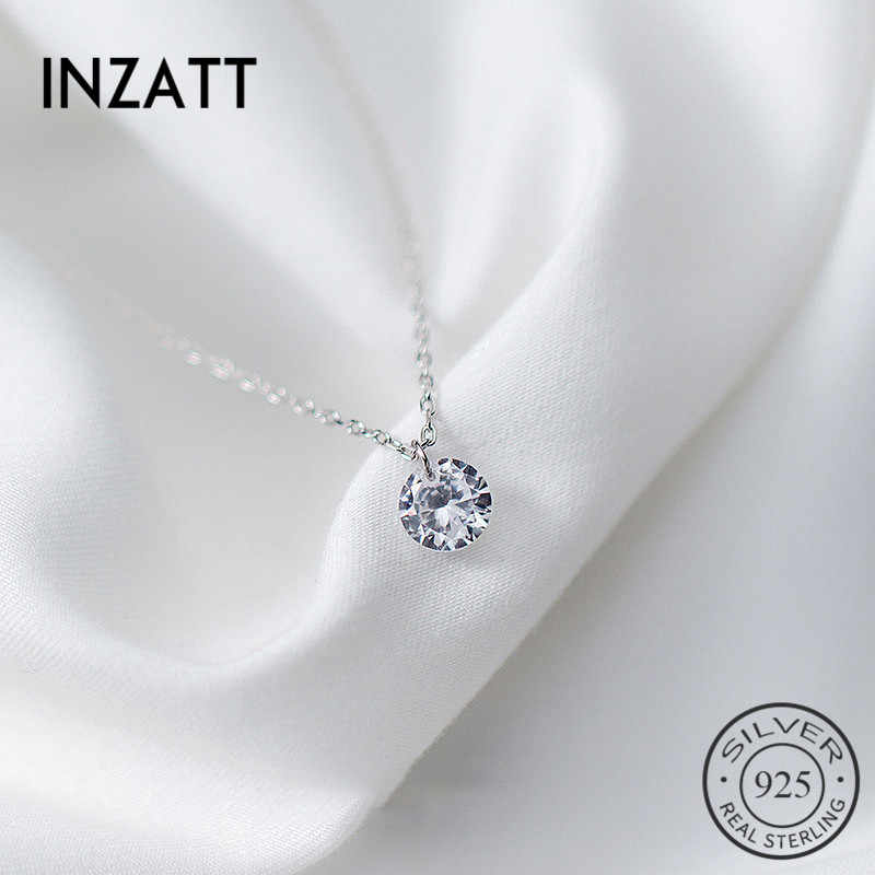 INZATT 2018 Real 925 Sterling Silver Pendant Necklace Round Crystal Fine Jewelry For Women Romantic Engagement Accessories Gift