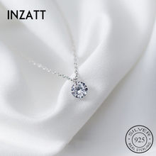 INZATT 2018 Real 925 Sterling Silver Pendant Necklace Round Crystal Fine Jewelry For Women Romantic Engagement Accessories Gift(China)