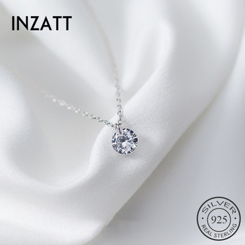 INZATT 925 Sterling Silver Pendant Necklace Round Crystal
