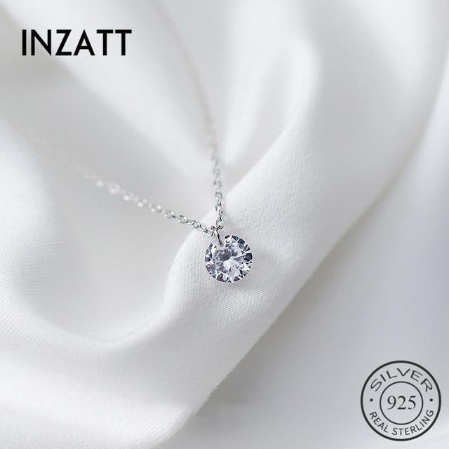 INZATT 2018 réel 925 pendentif en argent Sterling collier rond cristal bijoux fins pour les femmes romantique fiançailles accessoires cadeau