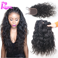 7A brazilian Water wave with closure 4pcs Lot,human hair lace closure with bundles brazilian virgin hair 3 bundles with closure
