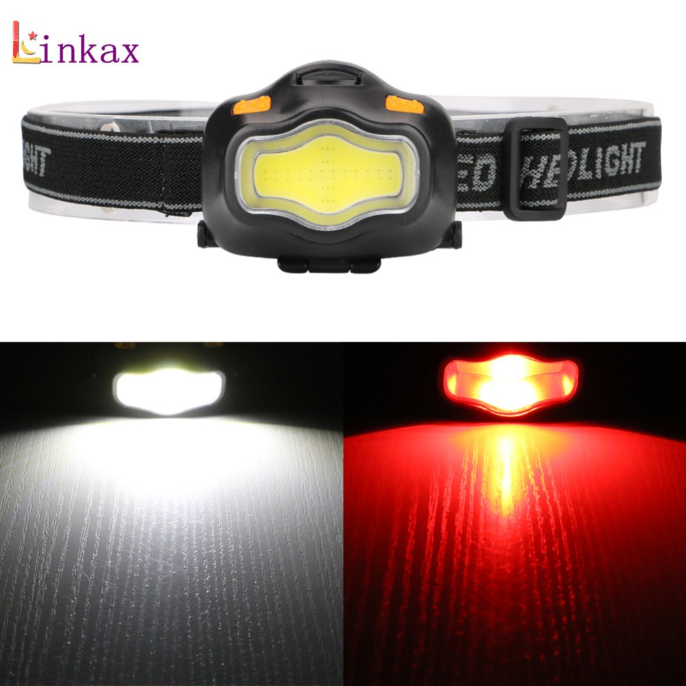 Newest 3 Modes LED Headlamp With Adjustable Head Straps Power By 3*AAA Battery White /Red Light Head Torch Lamp