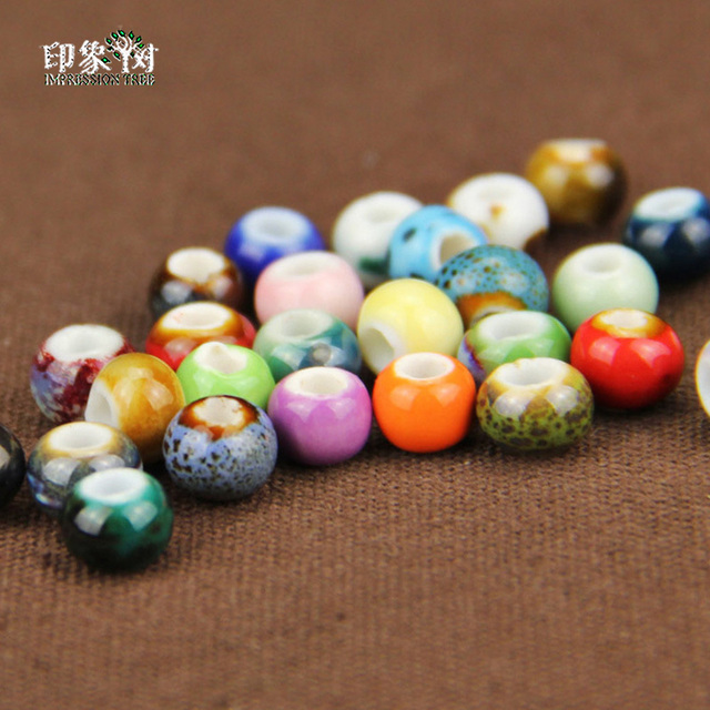 50pcs/LOT 6mm Colorful personality retro spot small ceramic beads For Handmade Diy Jewelry Making Supplies Wholsale Bulk  73